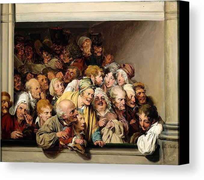 Louis Léopold Boilly - Loge During A Day Of Free Entertainment 1830 Canvas Print featuring the painting Loge During A Day Of Free Entertainment by MotionAge Designs