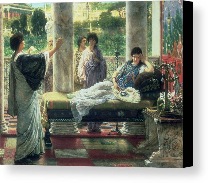 Catullus Canvas Print featuring the painting Catullus Reading His Poems by Sir Lawrence Alma-Tadema