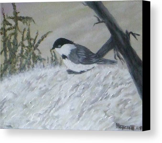Chickadee Canvas Print featuring the painting Chickadee by Rebecca Fitchett