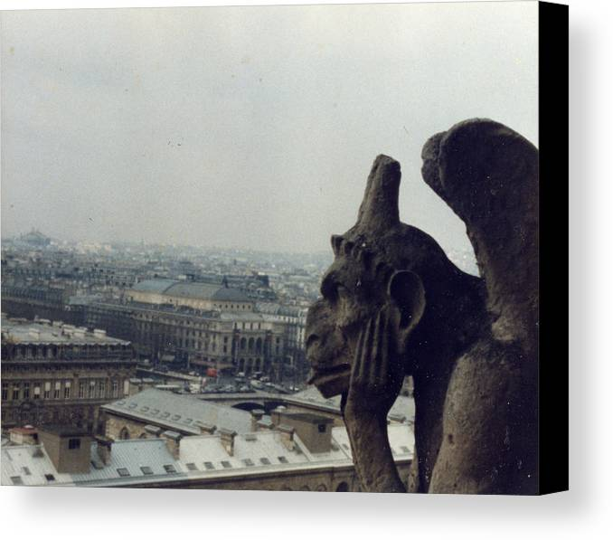 Gargoyle Canvas Print featuring the photograph I Hate Paris by Jennifer Ott