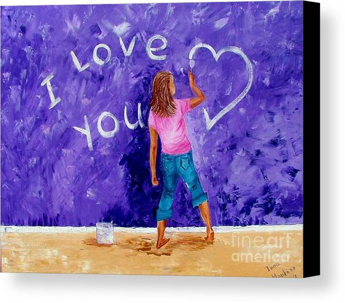 Girl Canvas Print featuring the painting I Love You by Inna Montano