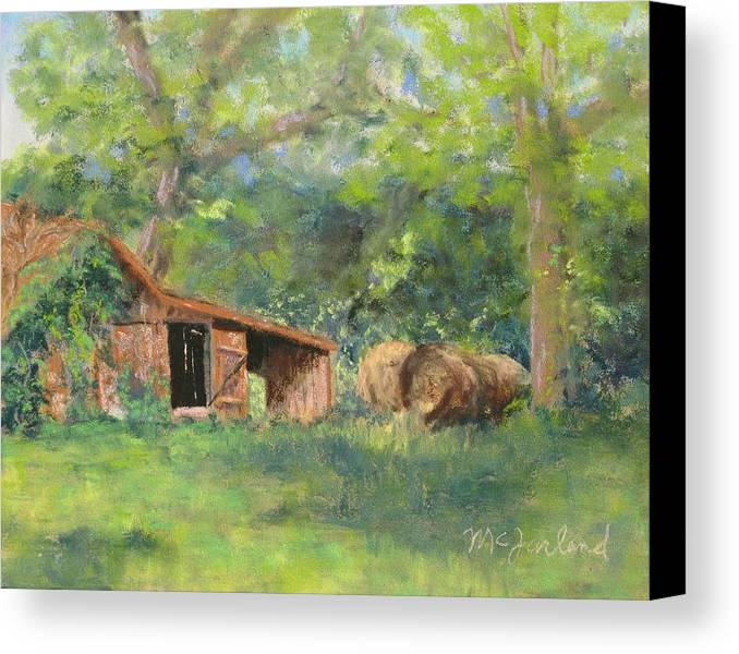 Barn Canvas Print featuring the pastel Leftover Hay by Lorraine McFarland