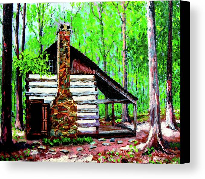Log Cabin Canvas Print featuring the painting Log Cabin V by Stan Hamilton