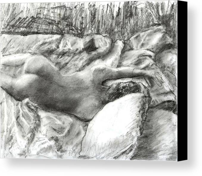 Nude Canvas Print featuring the drawing Nude Maria In The Sheets by Randy Sprout