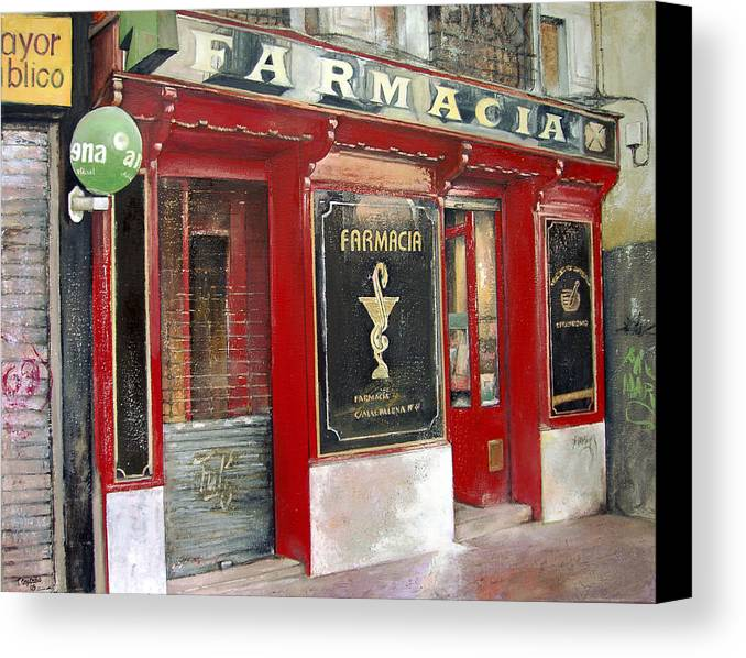 Farmacia Canvas Print featuring the painting Old Pharmacy by Tomas Castano
