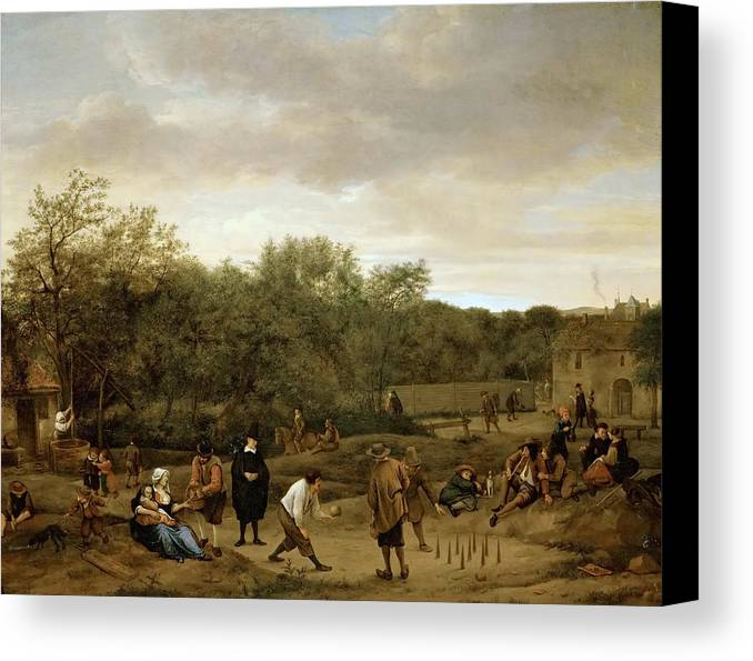 Arts Canvas Print featuring the painting The Bowling Game by Jan Steen