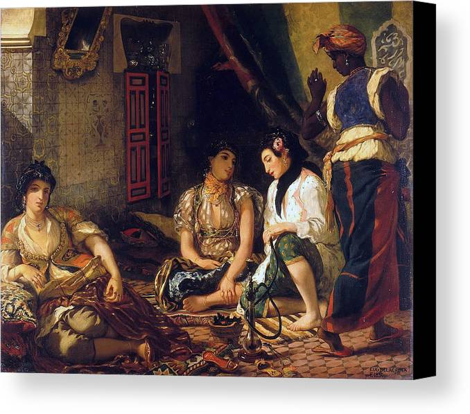 Eugene Delacroix Canvas Print featuring the painting The Women Of Algiers In Their Apartment by Eugene Delacroix