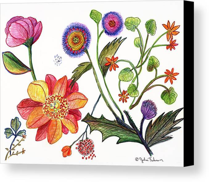 Flowers Nature Botany Drawing Julie Richman Flora Pencil Canvas Print featuring the painting Botanical Flower-45 Odd Flowers by Julie Richman
