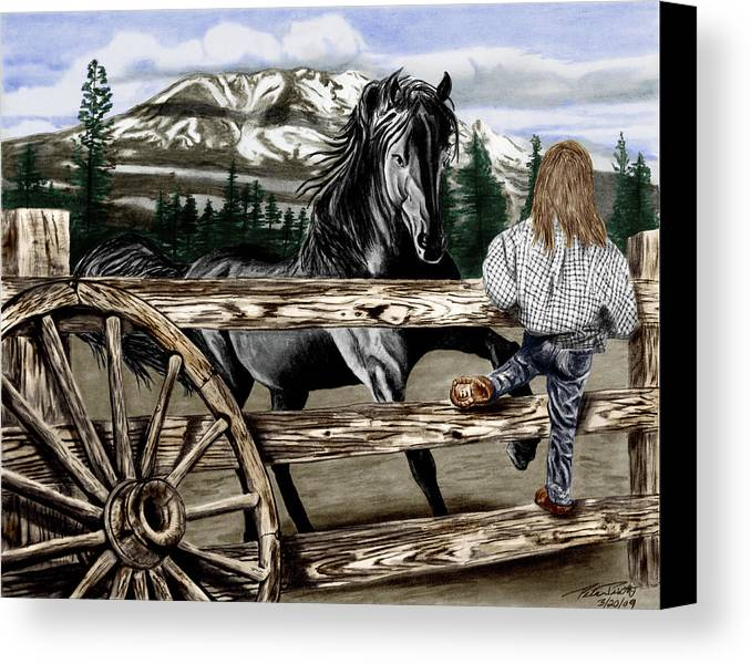 Hello Girl Canvas Print featuring the drawing Hello Girl by Peter Piatt