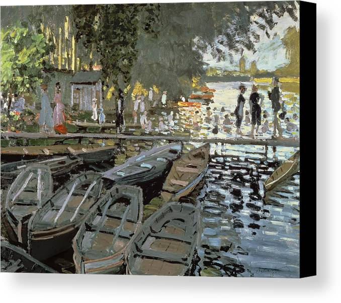 Boat Canvas Print featuring the painting Bathers At La Grenouillere by Claude Monet