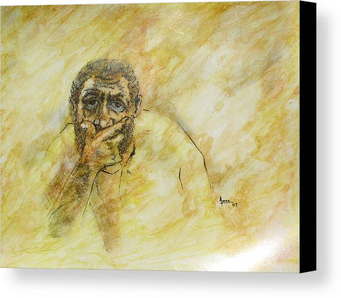 Portrait Canvas Print featuring the drawing Untitled by Victor Amor