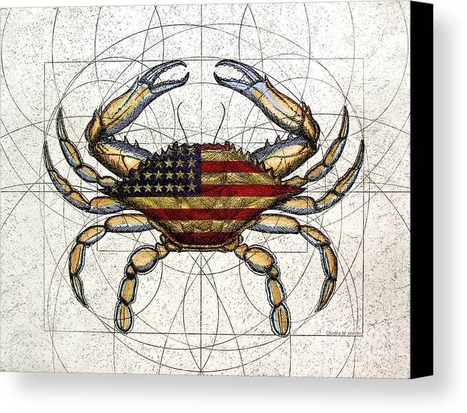 Charles Harden Canvas Print featuring the mixed media 4th Of July Crab by Charles Harden