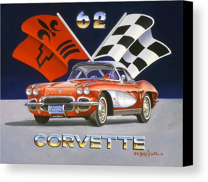 Chevy Corvette Canvas Print featuring the painting 62 Vette by Howard Dubois