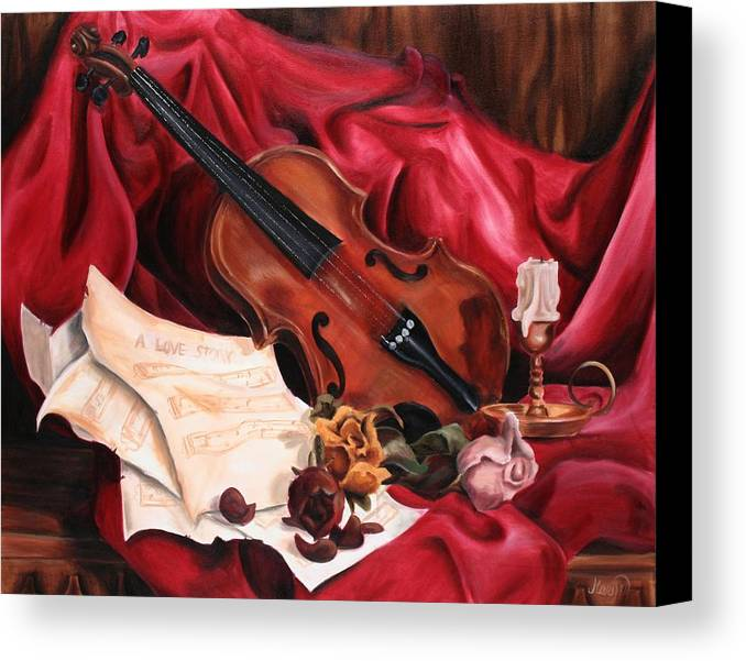 Violin Canvas Print featuring the painting A Love Story by Maryn Crawford