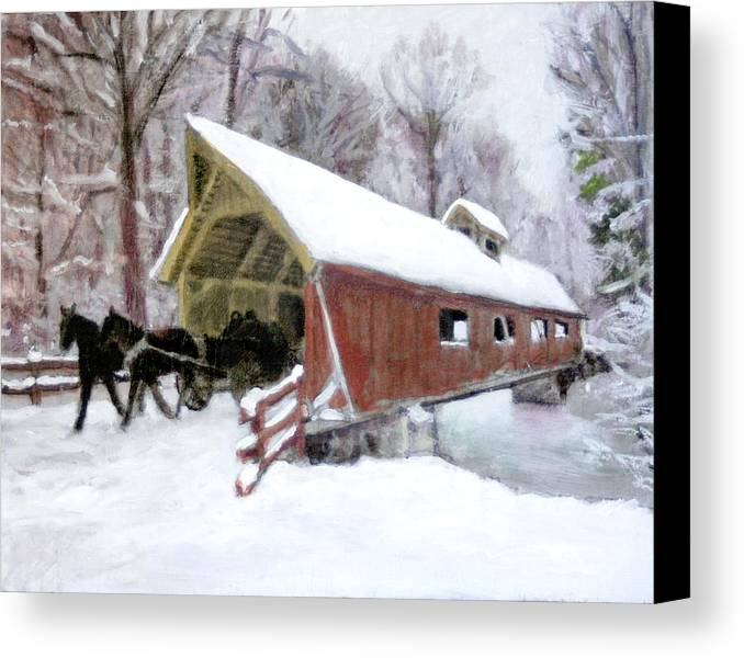 Snow Covered Bridge Canvas Print featuring the painting A Passion For Life by David Zimmerman