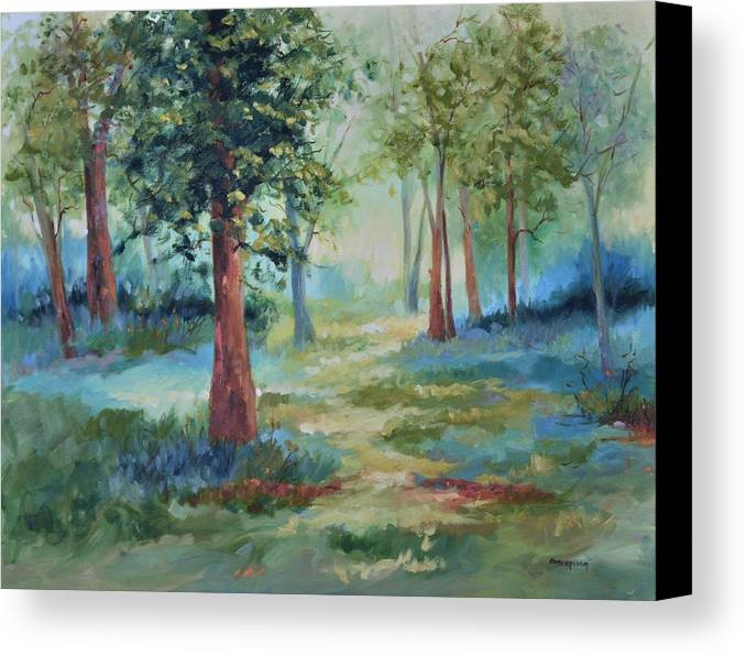 Trees Canvas Print featuring the painting A Path Not Taken by Ginger Concepcion