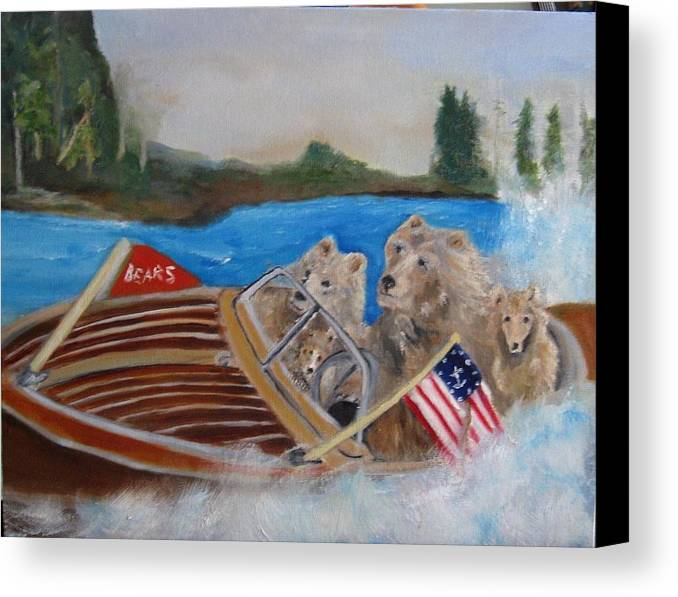 Lake Canvas Print featuring the painting A Very Beary Fun Lake Day by Colleen DalCanton