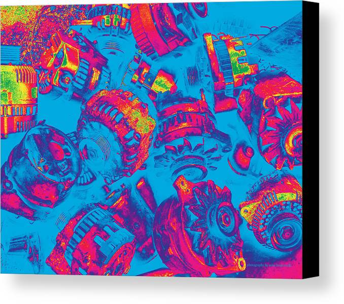 Abstract Canvas Print featuring the photograph Abstract Blue-red Multi Colors Junk by Mike Loudermilk