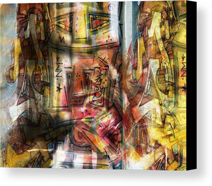 Graffiti Canvas Print featuring the mixed media Abstract Graffitis by Martine Affre Eisenlohr