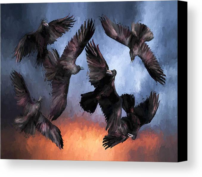 Fine Art Canvas Print featuring the painting Airborne Unkindness by David Wagner