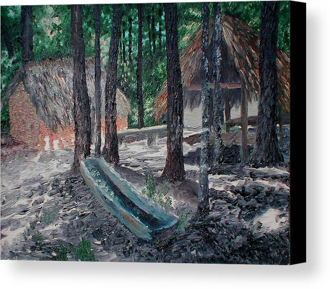 Indian Canvas Print featuring the painting Alabama Creek Indian Village by Beth Parrish