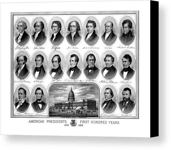 Us Presidents Canvas Print featuring the mixed media American Presidents First Hundred Years by War Is Hell Store