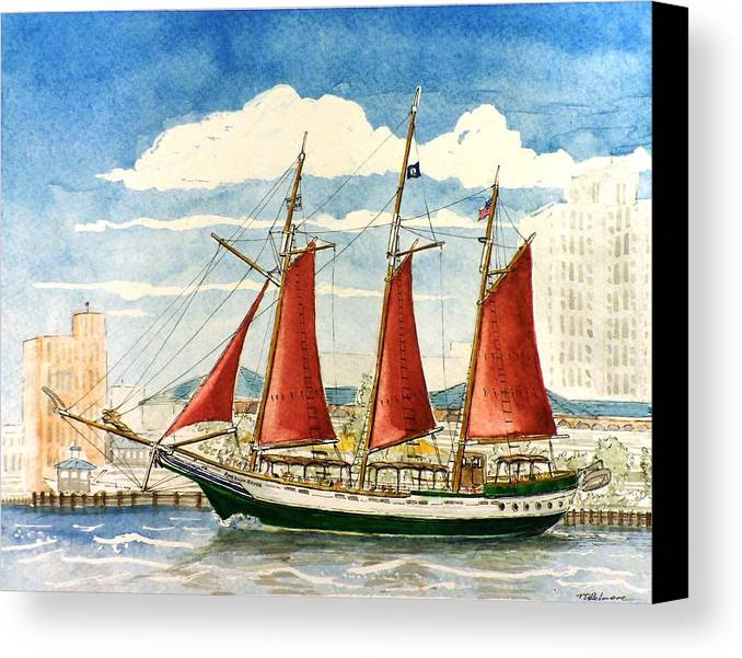 Ship Canvas Print featuring the painting American Rover At Waterside by Vic Delnore