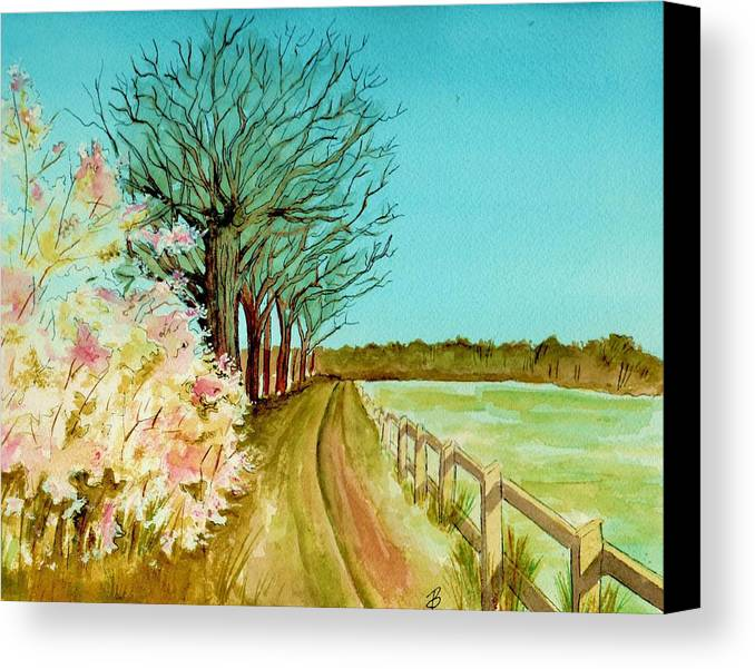 Landscape Canvas Print featuring the painting An English Footpath by Brenda Owen