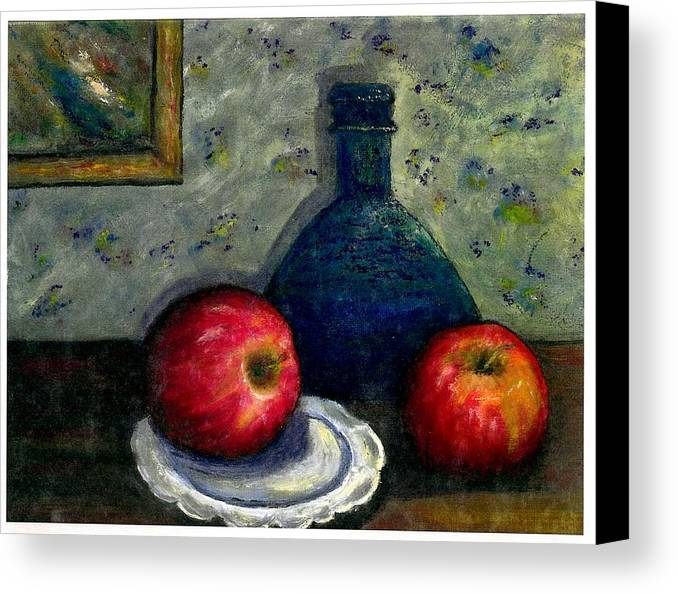 Still Life Canvas Print featuring the painting Apples And Bottles by Gail Kirtz