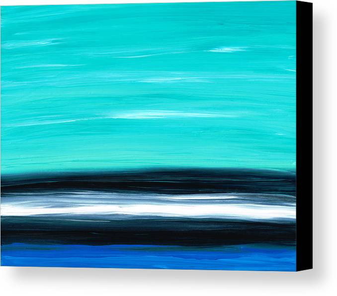 White Canvas Print featuring the painting Aqua Sky - Bold Abstract Landscape Art by Sharon Cummings