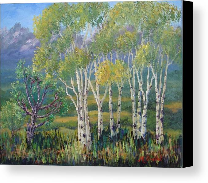 Landscape Canvas Print featuring the painting Aspens In The Rockies by Maxine Ouellet