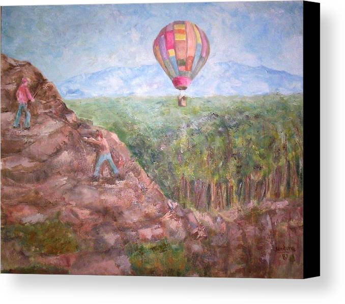 Landscape Baloon And Mountain Trees People Canvas Print featuring the painting Baloon by Joseph Sandora Jr