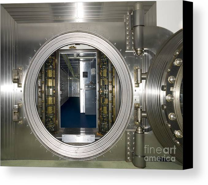 Architectural Canvas Print featuring the photograph Bank Vault Interior by Adam Crowley