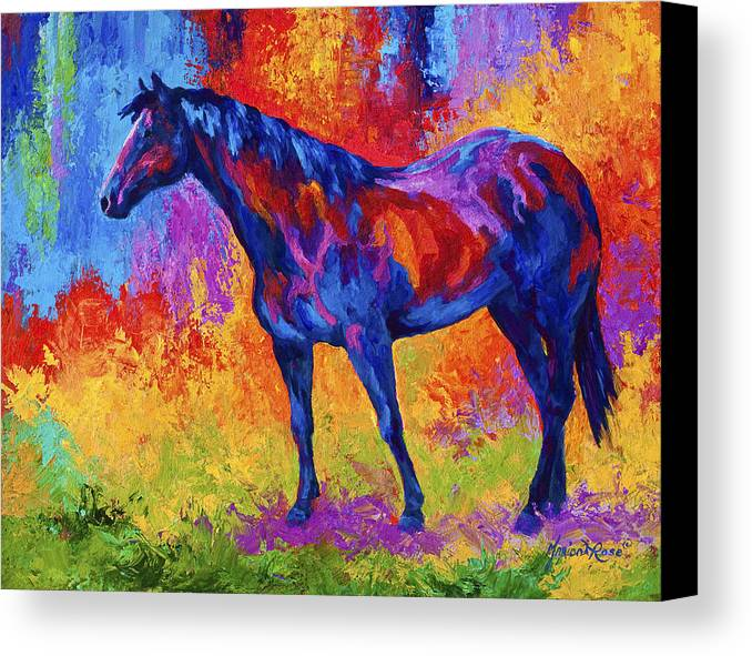 Horses Canvas Print featuring the painting Bay Mare II by Marion Rose