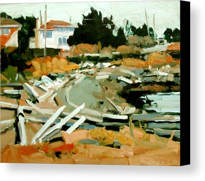 Beach Paintings Canvas Print featuring the painting Beach Frontage by Brian Simons