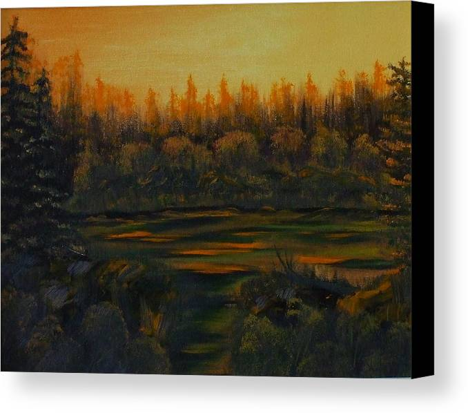 Landscape Canvas Print featuring the painting Beaver Pond At Sunset by Rebecca Fitchett