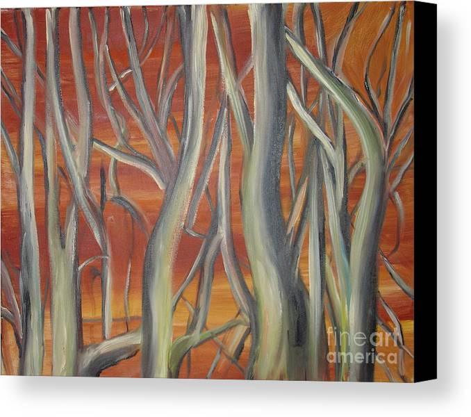 Trees Forest Original Painting Abstract Canvas Print featuring the painting Beyond by Leila Atkinson