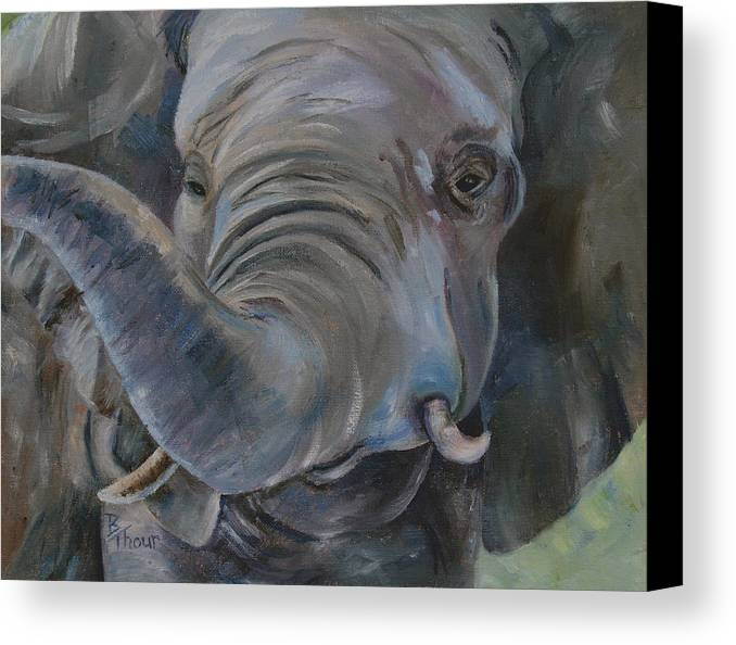 Elephant Canvas Print featuring the painting Big Boy by Brenda Thour
