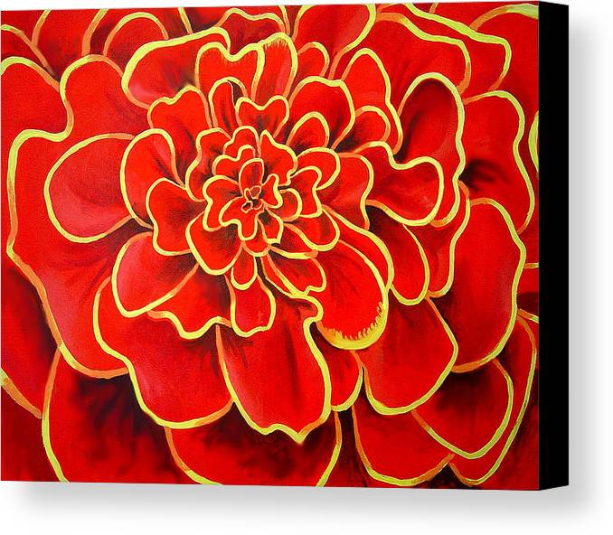 Diptych Canvas Print featuring the painting Big Red Flower by Geoff Greene
