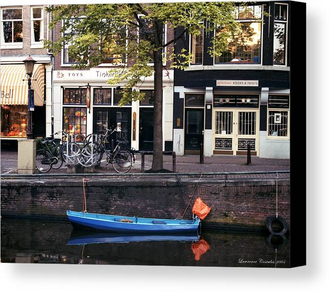 Amsterdam Canvas Print featuring the photograph Blu Boat by Lawrence Costales