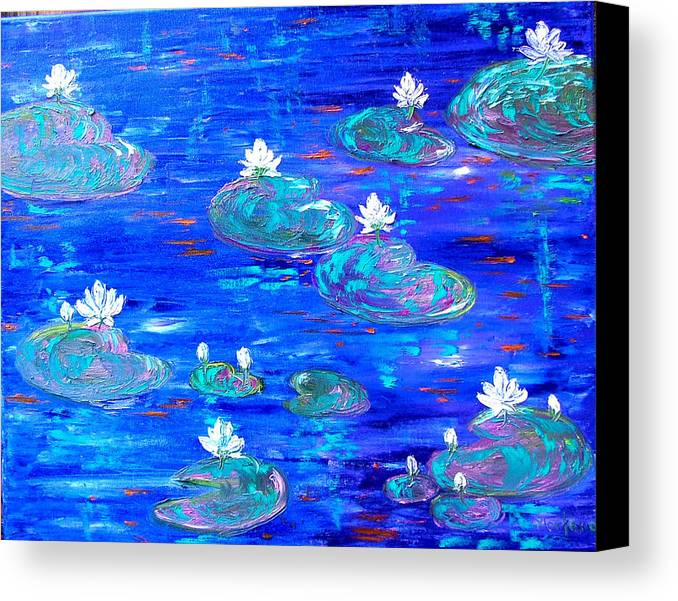 Lily Canvas Print featuring the painting Blue Lily Pond by Inna Montano