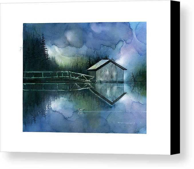 Seescape Canvas Print featuring the painting Blue Rapsody by Dumitru Barliga