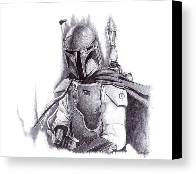 Star Wars Canvas Print featuring the drawing Boba Fett - Star Wars by Serafin Ureno