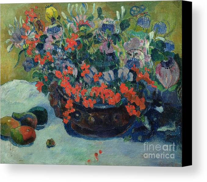 Bouquet Canvas Print featuring the painting Bouquet Of Flowers by Paul Gauguin