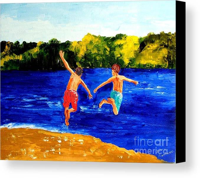 Boys Canvas Print featuring the painting Boys By The River by Inna Montano