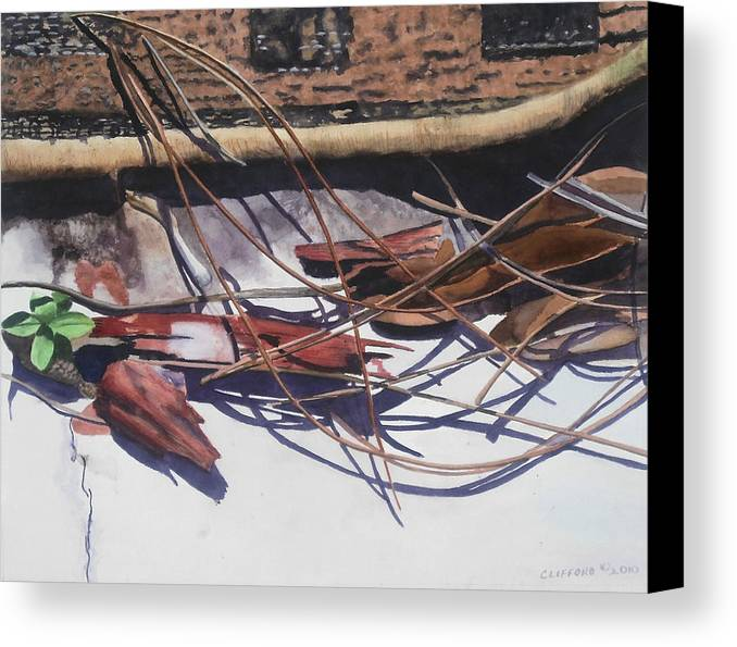 Leaves Canvas Print featuring the painting Brokendownontheground by Cory Clifford