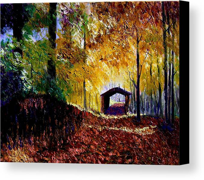 Ridge Canvas Print featuring the painting Brown County Covered Bridge by Stan Hamilton