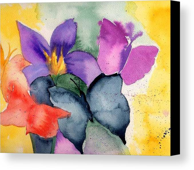 Butterflies Canvas Print featuring the painting Butterflies by Janet Doggett