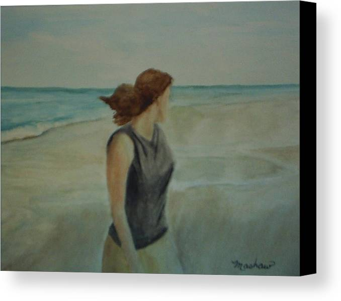 Ocean Canvas Print featuring the painting By The Sea by Sheila Mashaw