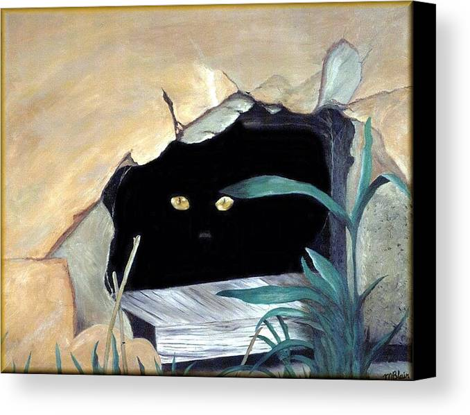 Cats Canvas Print featuring the painting Can't See Me by Merle Blair
